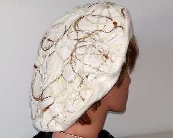 Beret French Beret white 57 cm 22 1/4 -22 3/4 inch
