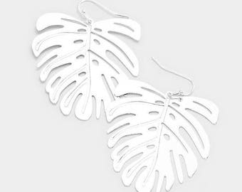 Monstera Leaf Earring Silver/Gold Tone