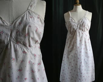 Slip dress/nightgown, cotton, small flowers, Vintage 1960's, small size