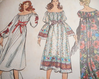 Vintage 1970's Vogue 8067 Boho Festival Dress and Shawl Sewing Pattern, Size Medium 12-14 Bust 34-36