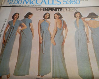 Vintage 1970's McCall's 5360 The Infinite Dress Sewing Pattern One Size