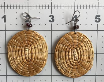 Vintage 1970's Straw Spiral Earrings-Woven-Mat-Gold Thread-Boho-Ethnic-Jewelry-Beautiful-Natural-Handmade-Stone-Festival-Tribal-Egg-Oval