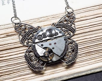 Silver Butterfly Watch Movement Necklace