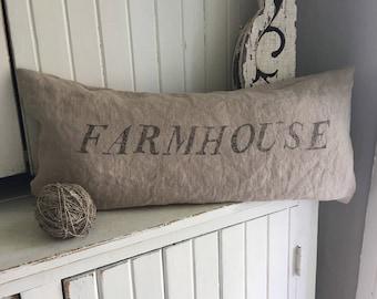 Natural Linen Pillow FARMHOUSE