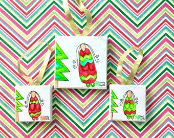 Ornaments / Mini Paintings Set of 3 / Nursery Baby Shower Gift/ Baby's First Christmas / Unique Artwork / Handmade Art