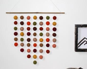 Felt Ball Hanging Mobile: Autumn Themed, Pom Pom Wall Hanging, Wall Decor, Thanksgiving Decor, Autumn Decor, Fall Decor, Autumn Wall Hanging