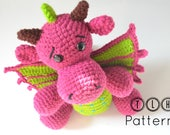Amigurumi dragon pattern, crochet amigurumi, crochet dragon toy pattern, Delna the baby dragon, pattern no. 112