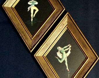 French Art Deco Prints in Windsor Mode Frames Set of 2, Illinois Moulding Co, Chicago, Theatrical Ballet Dancers