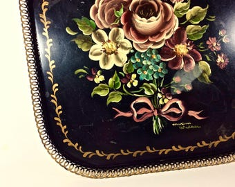 """Tray Reticulated 12"""" Square Hand Painted TOLEWARE Floral Design Lace Edge Metal Tray Open Filigree Rim"""