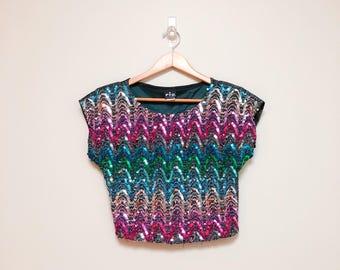 Vintage 80s Rainbow Sequin Cropped Top / Sparkle Lurex Pullover