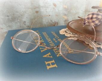 antique eye glasses wire rim glasses 1900's victorian eyewear spectacles oval frames eyeglasses