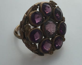 1920s Vintage CZECH Glass & BRASS Ring FORAL Garland Setting Multiple Faux Amethyst Stones Adjustable Ring Costume Ring Vintage Ring