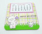 2018 Piggy with Cupcake Calendar, Kawaii pig themed calendar, Birdie Brown Hog Heaven, Cheery calendar