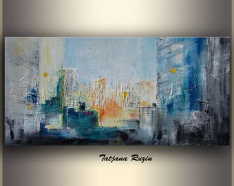 Large Abstract Painting Urban art Oil Painting Abstract cityscape painting Abstract Painting on canvas blue gray Large Wall Art Made 2 Order