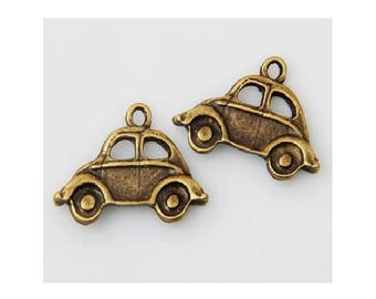 8 Volkswagon Car VW Charms Love Bug Antique Silver or Bronze Tone 22x15mm