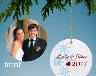 Personalized Photo Ornament with Romantic Snowflakes
