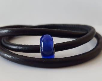 Triple Wrap Black Leather Bracelet