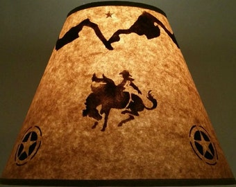 Cowboy lamp shade etsy rustic rodeo rider lamp shade 12 inch bottom diameter 9 inch slant 5 inch mozeypictures Gallery