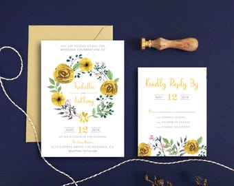 Watercolor Wedding Invitation Set Printable and RSVP Card - Botanical Floral Invitation Woodland Wedding Boho Chic