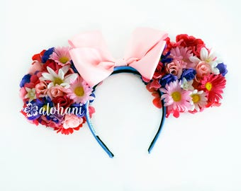 Rapunzel Minnie Mouse Ears Headband. Floral Ears. Pink and Purple Daisies, Spring Flowers.