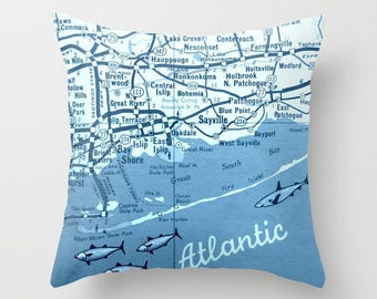 Decorative Pillow Fire Island Map Throw Pillow Cover Fire Island Long Island Map Throw Pillow Housewarming Gift New York Throw Pillow NY map