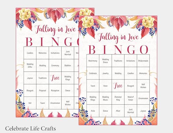 60 Falling in Love Wedding Bingo Cards - Fall Bridal Shower Bingo ...