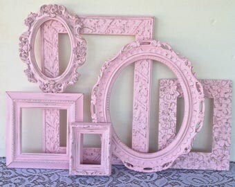 7 Shabby Chic Pink Open Frames - Wall Hanging Frames