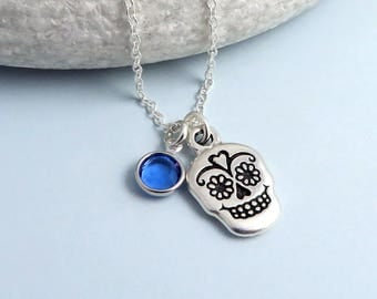 Sugar Skull Birthstone Necklace, crystal birthstone, mexican skull necklace, day of the dead