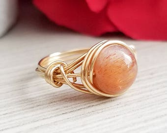 Sunstone Ring, 14kt Gold-Filled Wire Wrapped Jewelry, Gemstone Ring, Sunstone Jewelry
