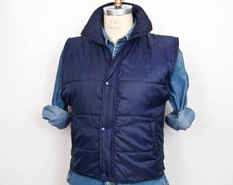 Vintage Blue Puffy Vest / Greatland quilted nylon ski vest jacket / men's small-medium