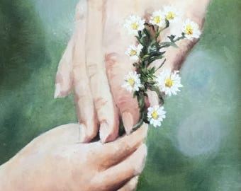 """Fine art 8X10 print of my original oil painting on canvas board """"A Precious Gift"""""""