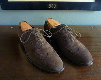 BEAUTIFUL Ermenegildo Zegna Brogued Brown Suede Wingtip Oxford Shoes Size US 9. Made in Italy.
