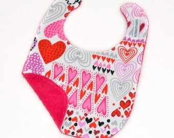 Valentine's Day Baby Bib - Pink and Red Hearts Bib - Ready to Ship