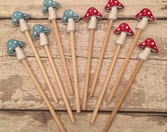 Toadstool pencil topper
