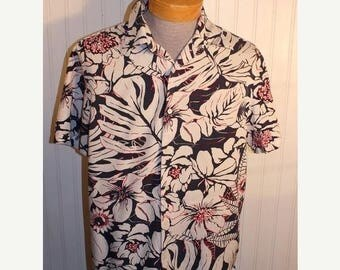 On Sale 50% OFF Men's Vintage Michael Kors Hawaiian Board Shirt Silk Cotton Blend Size M Navy White Hot Pink Hibiscus