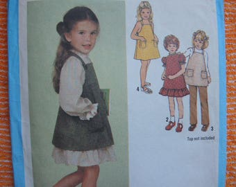 vintage 1970s Simplicity sewing pattern 9211 girls size 5 dress and sundress or jumper and pants
