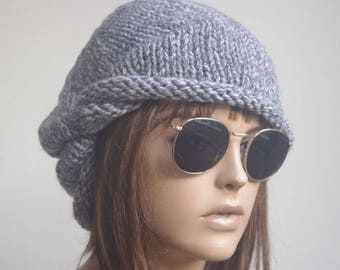 Womens Hats Hat beret Hat  Women Hat cable Slouch Beanie Cable Women Hat Oversized Hat Cable Hat Chunky Knit Hat