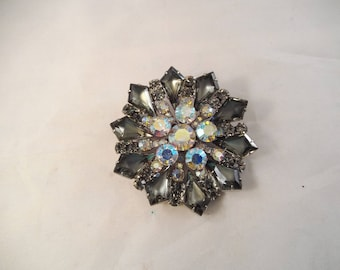 Large Rhinestone Brooch, AB Rhinestone in Center, Smoky Gray on the Ends, Flower Pattern, Unsigned