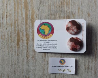 African print Button earrings, African earrings, Fabric button earrings, Button earrings. Fabric earrings, African wax print. BROWN