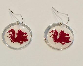 Gamecock earrings,Resin jewelry,vinyl earrings,handmade earrings,accessories,football season,college football