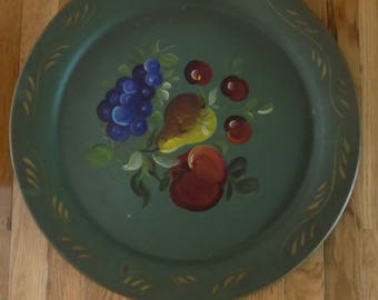 Vintage olive green with fruit metal tray - Nasho Products