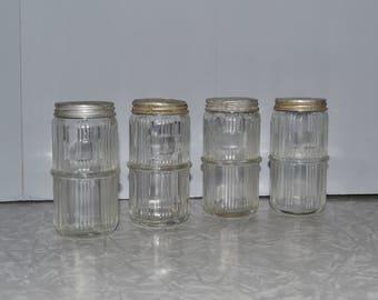 Ribbed Hoosier Spice Jars Set of Four ~ Center Ring Spice Jars ~ Hoosier Cabinet ~ Epsteam