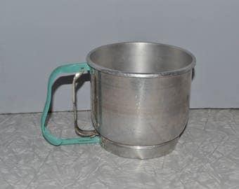 Turquoise Foley Flour Sifter ~ Vintage Kitchen Gadget ~ Mid Century