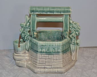 McCoy Wishing Well Planter ~ Green & Gray Pot