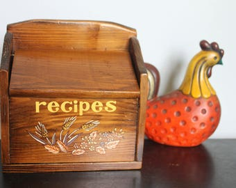 Vintage painted/decal wood recipe box,  wheat and leaves 1970s motif, harvest decal recipe box