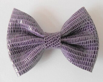 Purple bow leather genuine imitation snake 5.5 x 4 cm
