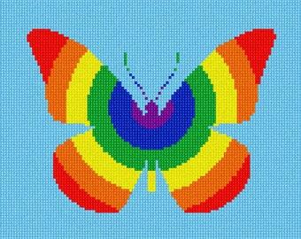 Needlepoint Kit or Canvas: Rainbow Butterfly