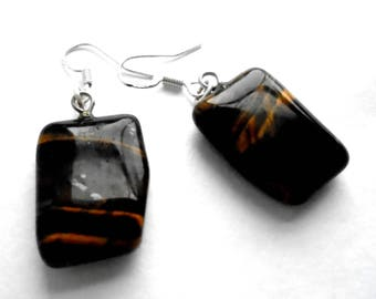 Tigers Eye and Sterling Silver Gemstone Earrings in an Unusual Shape, simple statement jewellery, fashion accessory, sale, gift for her, 925