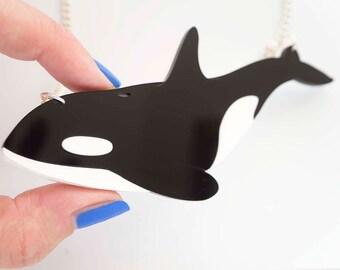Orca Necklace. Killer Whale Statement Necklace. Whale Pendant. Endangered Species Necklace. Cetacean Jewellery