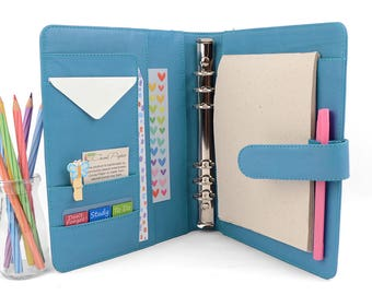 READY TO SHIP! Classic Aqua A5 Leather Ring Binder Personal Planner - 6 Ring, Lots of pockets.